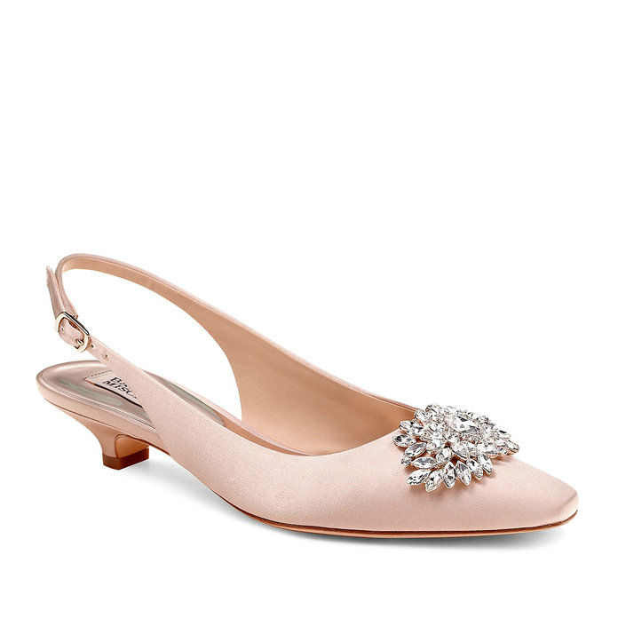 Satin Slingback Kitten Heel Pumps