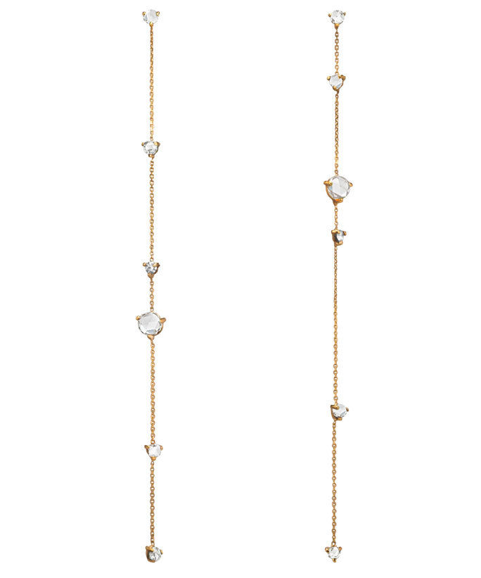 Wwake diamond and gold chain earrings
