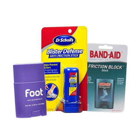 Kaki Anti Blister Balm, Dr Scholl's Blister Defense Anti-Friction Stick, Band-Aid Friction Block Stick