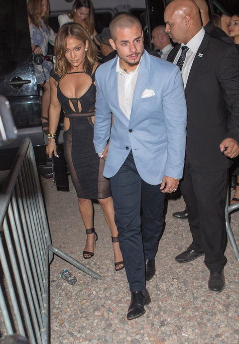 Jennifer Lopez celebrates her birthday at 1OAK in the hamptons with French Montana and Casper Smart wearing a tight see-through dress.