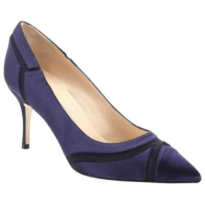 Manolo Blahnik Dastiora Satin Patchwork Point-Toe Pumps