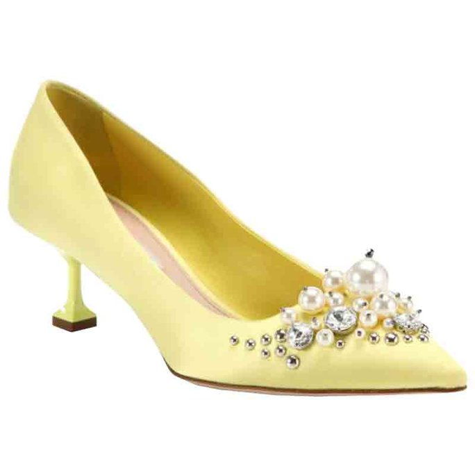 Miu Miu Embellished Satin Point-Toe Pumps