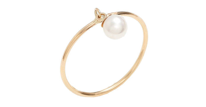 Dangling Pearl Charm Ring