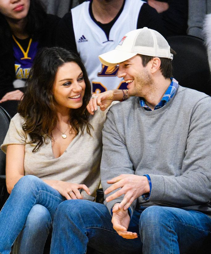 Mila Kunis Ashton Kutcher Basketball Game - Lead 2016