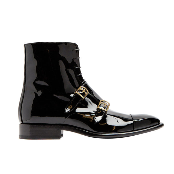 Monk-curea patent-leather ankle boots
