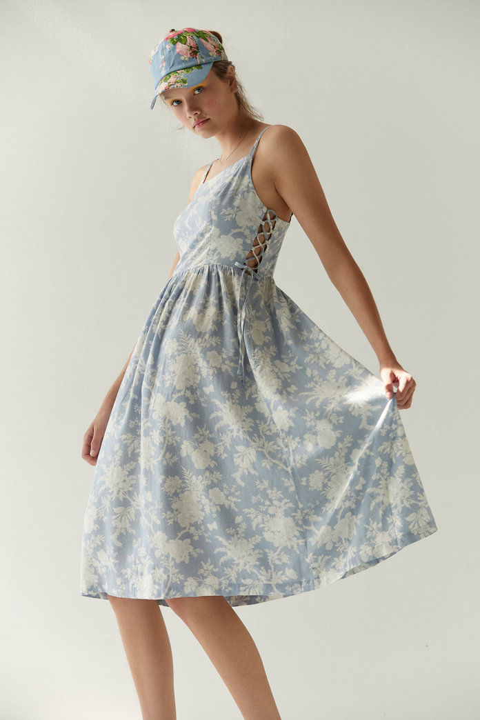 Laura Ashley & UO Lace-Up Midi Dress