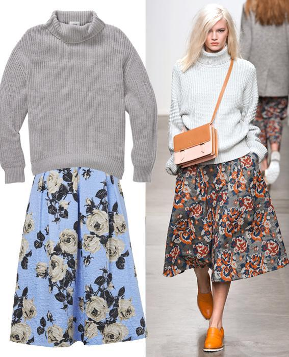 Skirt sweater combos: Karen Walker