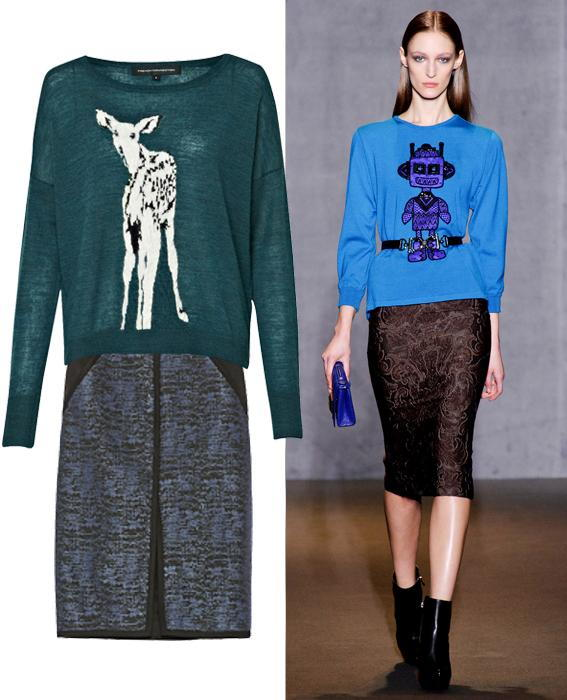 Skirt sweater combos: Andrew Gn