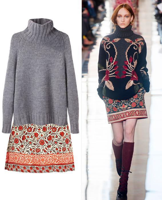 Skirt sweater combos: Tory Burch