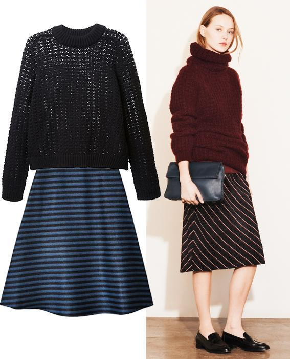 Skirt sweater combos: Elizabeth and James