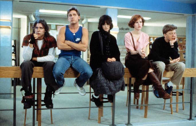 IL BREAKFAST CLUB, Judd Nelson, Emilio Estevez, Ally Sheedy, Molly Ringwald, Anthony Michael Hall, 1985. ©Universal Pictures/Courtesy Everett Collection