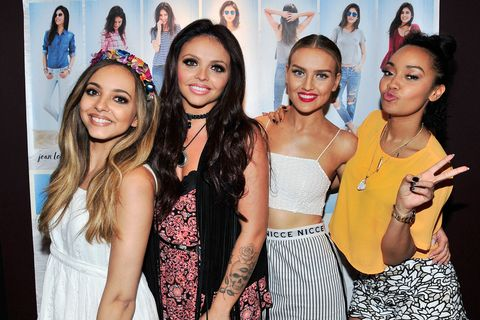 (L-R) Jade Thirlwall, Jesy Nelson, Perrie Edwards and Leigh-Anne Pinnock of Little Mix perform at Hollister Co. on August 6, 2015 in San Diego, California.