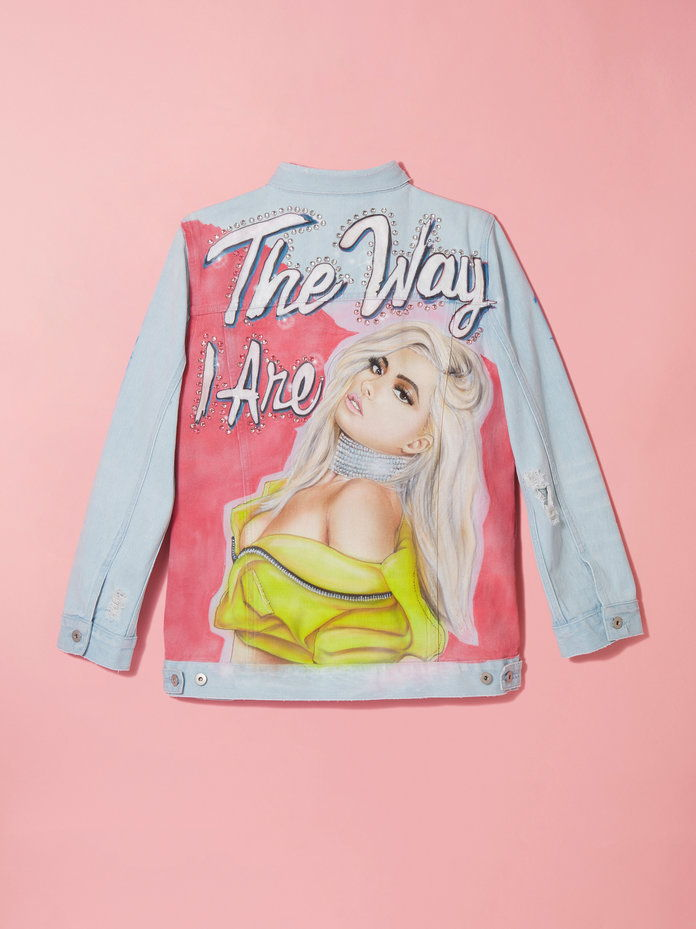 Hand-Airbrushed Portrait Denim Jacket with Gems