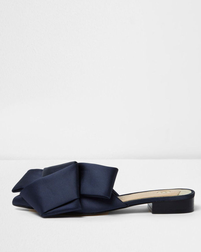 satin oversized flat bow backless loafer