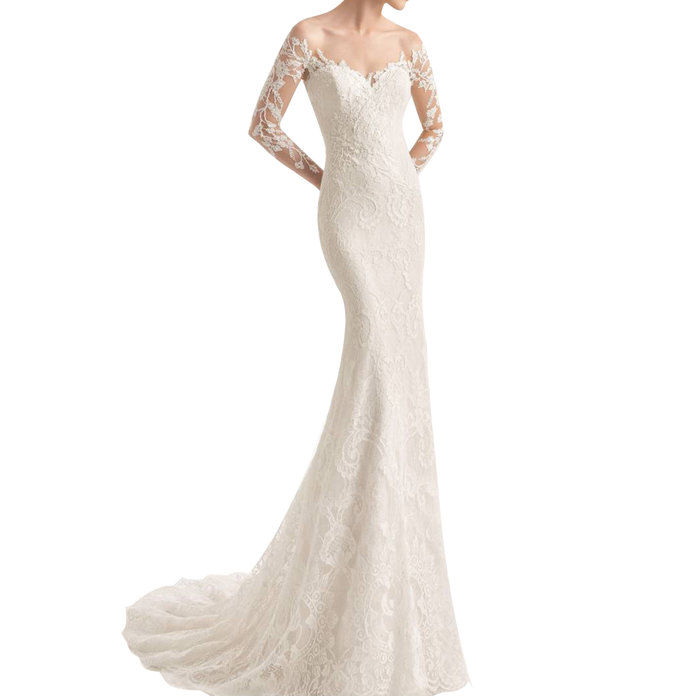 Rosa Clara Naim Strapless Illusion Lace Mermaid Gown