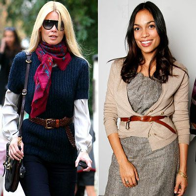 Claudia Schiffer - Rosario Dawson - Belted Sweater - Celebrity Fashion Trends