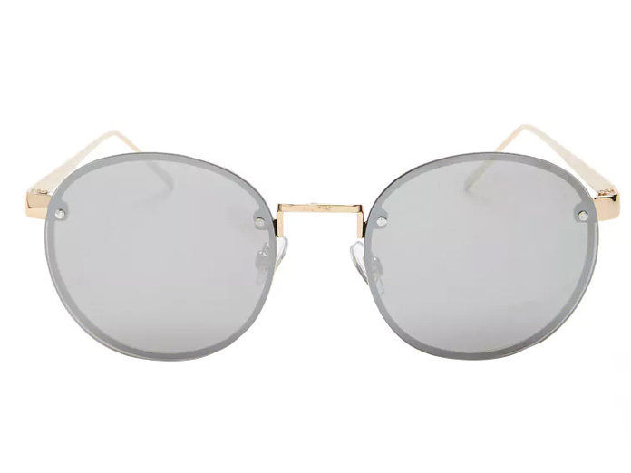 Frameless Mirrored Round Sunglasses