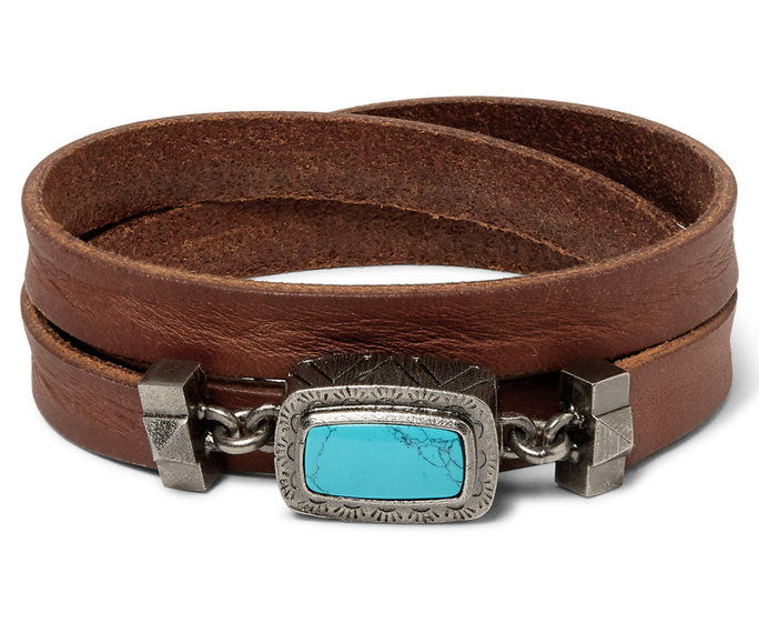 VALENTINO Leather And Silver-Tone Wrap Bracelet