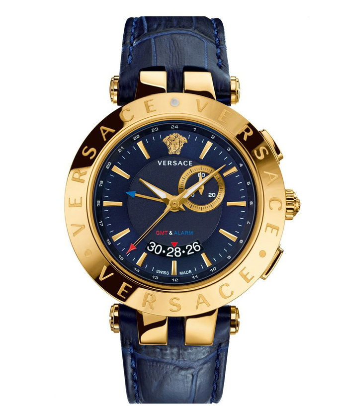 Versace 'V-Race GMT' Round Leather Strap Watch