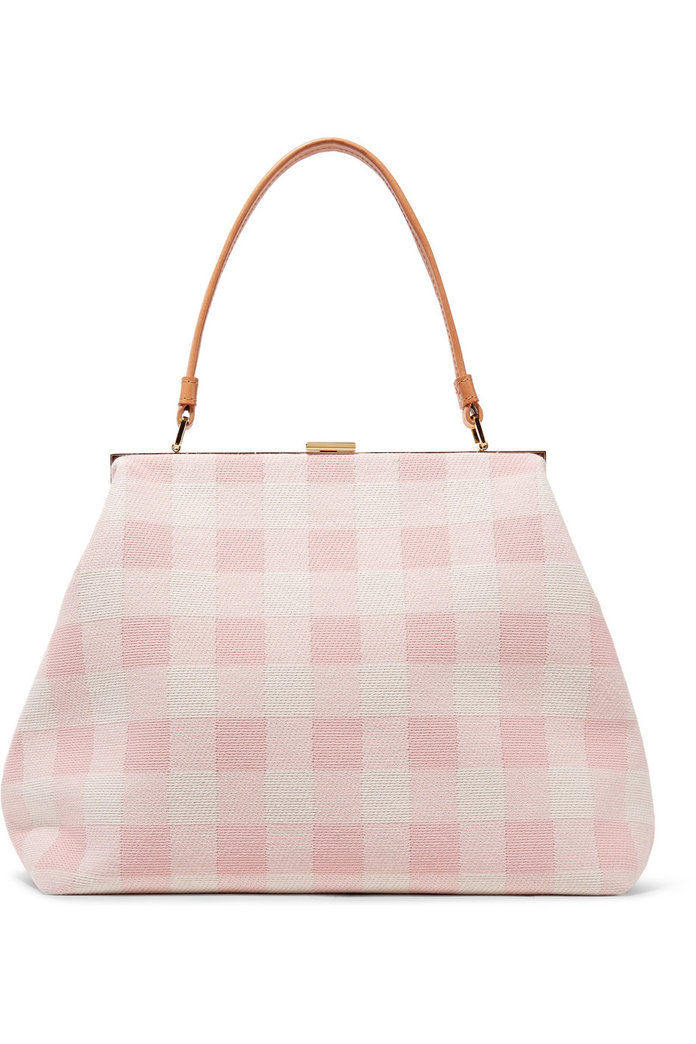 elegantný leather-trimmed checked cotton-canvas tote