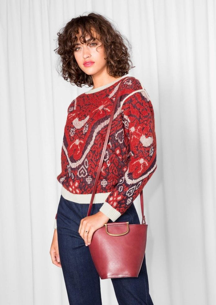 & Other Stories Jacquard Embroidery Knit
