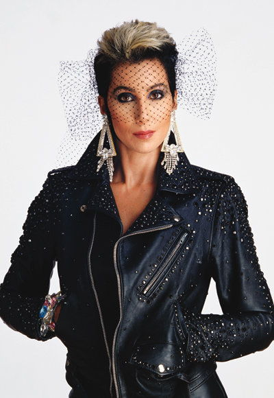 Cher in a motorcycle jacket