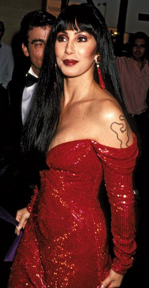 Cher is red Bob Mackie dress