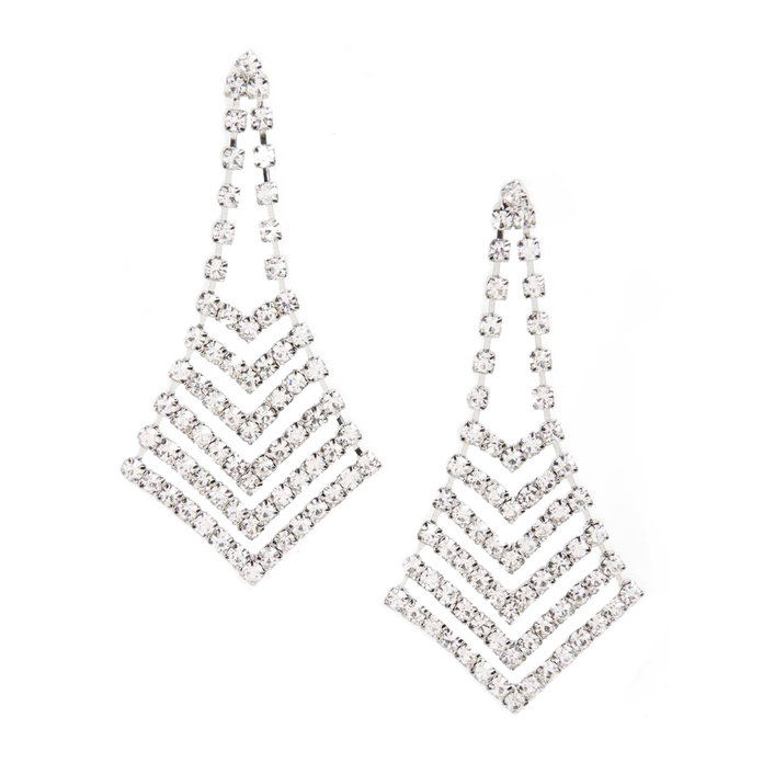 krištáľ Chevron Chandelier Earrings