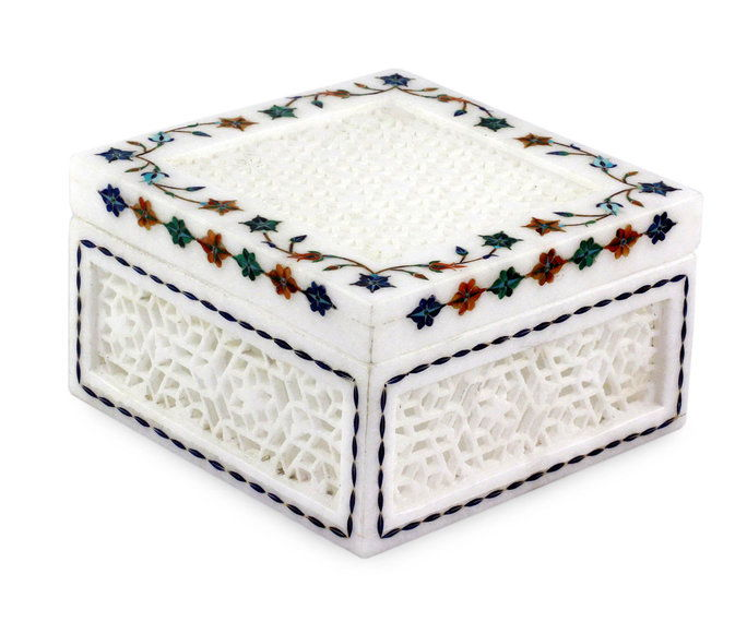 India Marble Inlay Jali Jewelry Box