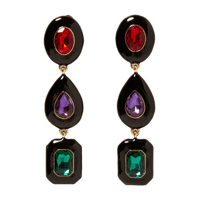 dlho Earrings With Colored Gems