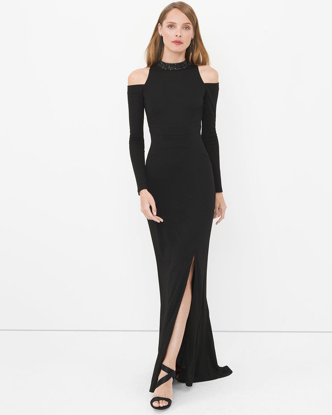 Hitam Gown with Cut-Out Shoulders