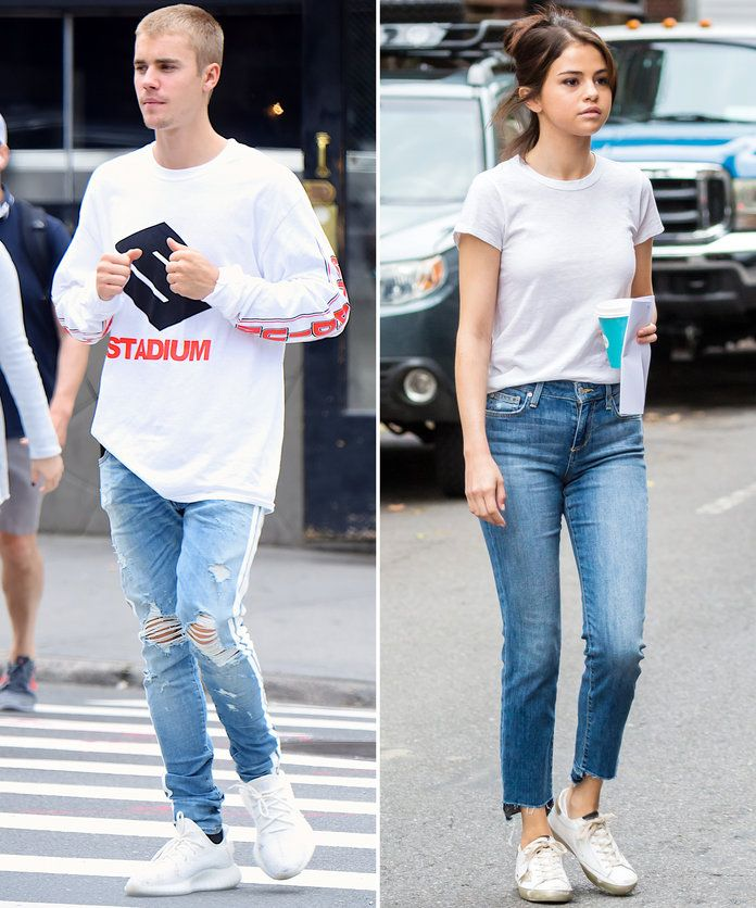 In another white T-shirt, jeans, and sneakers combo