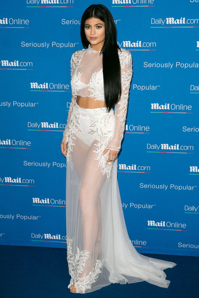 Kylie Jenner in a sheer maxiskirt and top