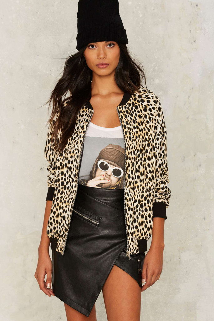 Motel Come as You Are Cheetah Bomber Jacket