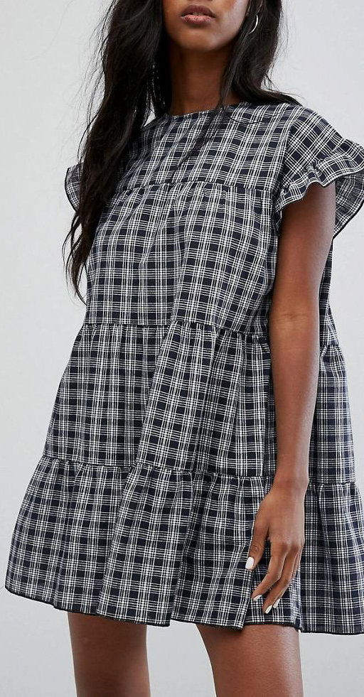 PrettyLittleThing Check Smock Dress