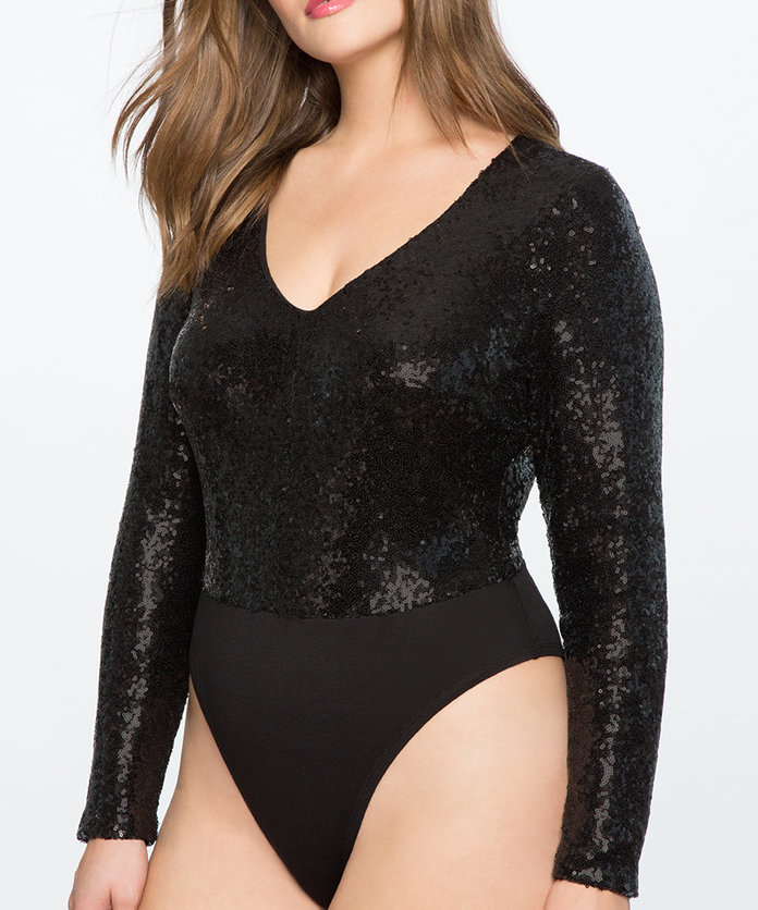 Studio V-Neck Sequin Bodysuit by Eloquii