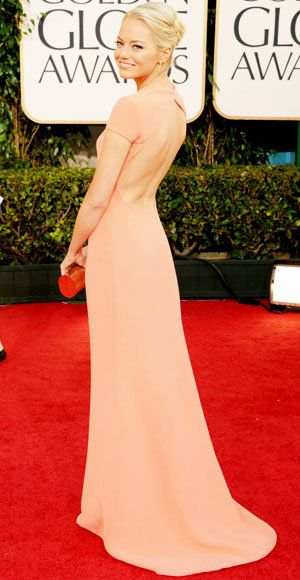 Emma Stone - The Best Golden Globes Gowns of All Time - Calvin Klein Collection