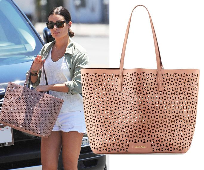 Lea Michele carrying an Elizabeth and James tote