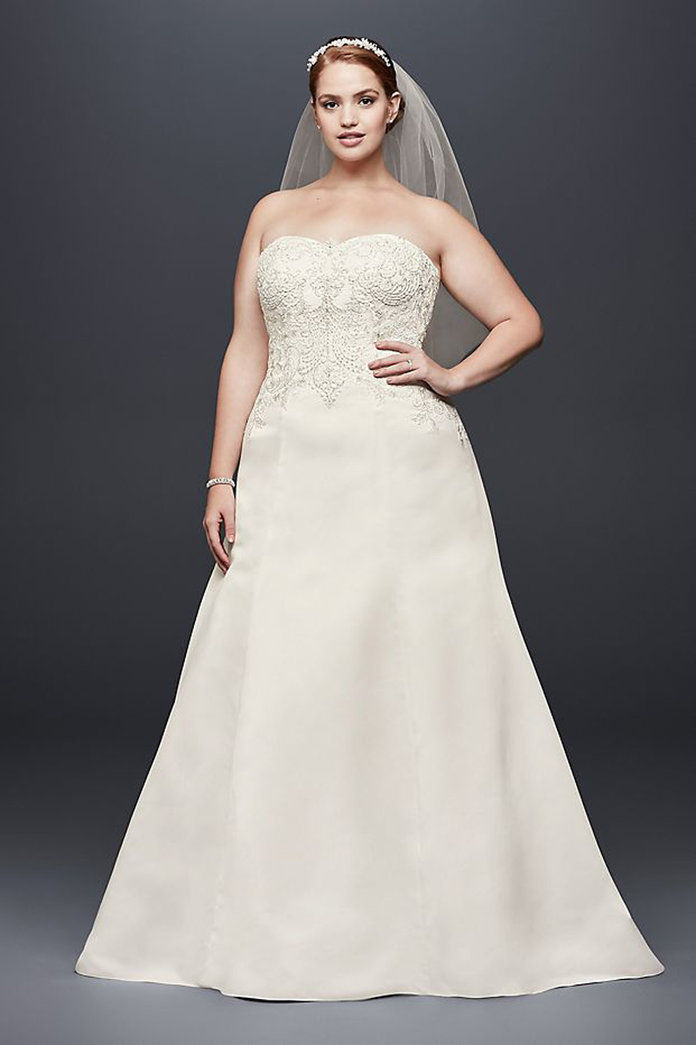 David's Bridal Collection Satin Strapless A-line Plus Size Wedding Dress