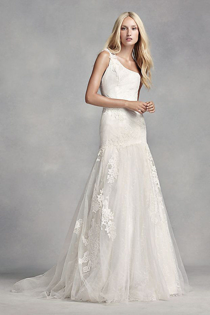 biely by Vera Wang One Shoulder Lace Wedding Dress