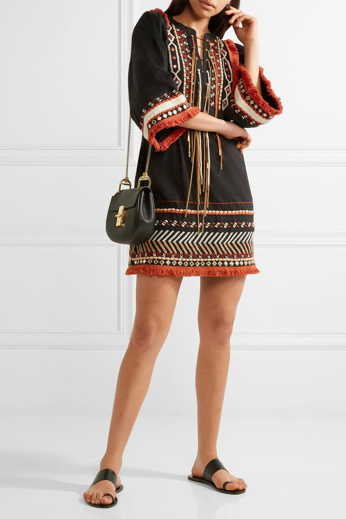 Rachel Zoe Bianca embellished embroidered cotton-voile mini dress