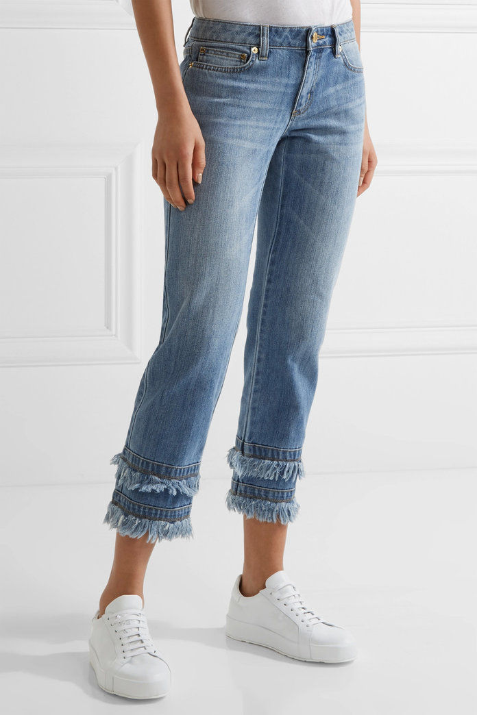 Michael Michael Kors Frayed Cropped Boyfriend Jeans