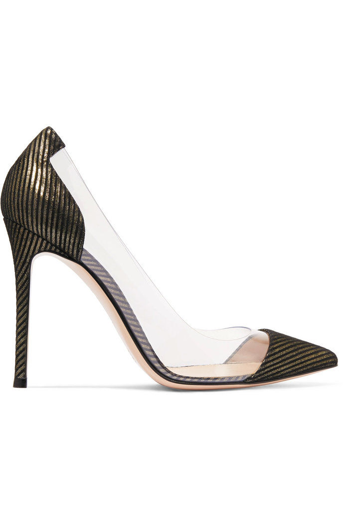 Gianvito Rossi Metallic-striped suede and PVC pumps
