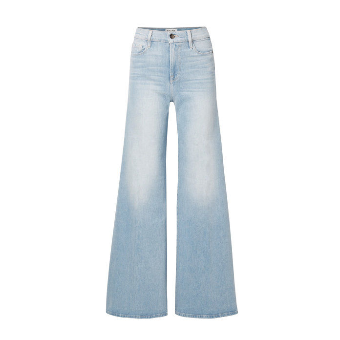Bingkai Denim Palazzo Faded Pants