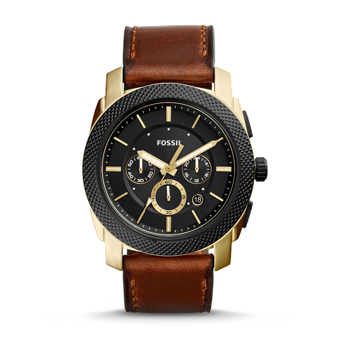 coklat leather chronograph watch