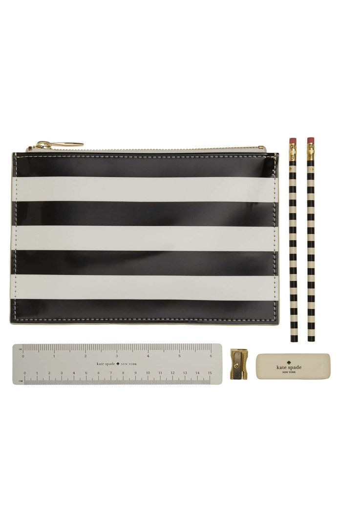 KATE SPADE NEW YORK tripe pencil pouch set
