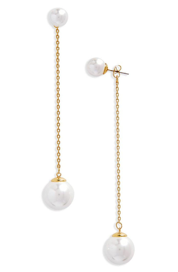 REBECCA MINKOFF Double Sphere Front/Back Earrings