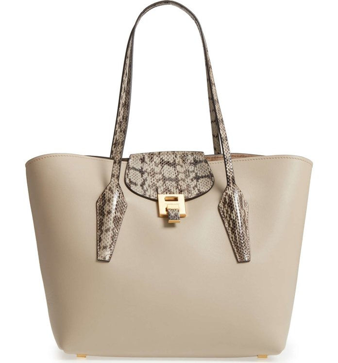 Grande Bancroft Leather Tote with Genuine Snakeskin Trim