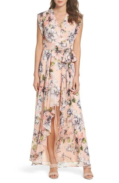kvetinový Ruffle High/Low Maxi Dress