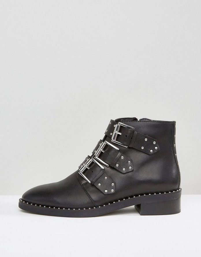 Asher Leather Studded Ankle Boots